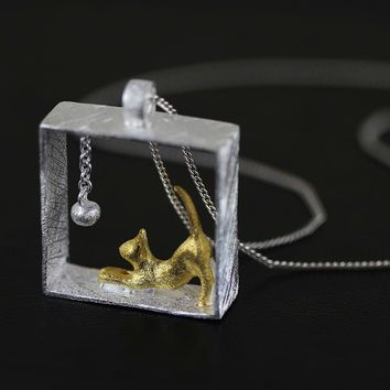 925 Sterling Silver Handmade Designer cat pendant Fine Jewelry
