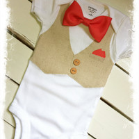 Boys Coral BOW TIE BODYSUIT with Linen Vest-Vest Bodysuit with Bow Tie-Boys Wedding Attire-Boys Birthday Outfit