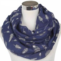 Feather Print Infinity Scarves
