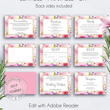 Floral Wedding Insert Cards, Wedding Set, Rose, Gold Wedding, Wedding Info Card, Wedding Details Card Template, Editable RSVP, Reception