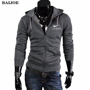 BAIJOE Autumn Winter Hoodies Men Sweatshirt Fashion Mens Hoodies Streetwear Chest print Zipper cardigan Hooded Brand Clothing