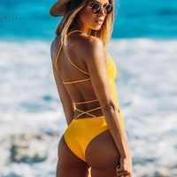 Back Cross Strap One Piece Swimsuit - NOVASHE.com