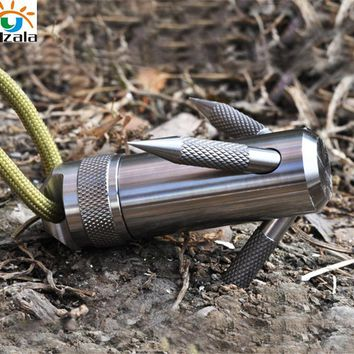 Titanium Capsule Grappling Hook Container Waterproof Storage Box EDC Outdoor Capsule Tablet Cash Pill Survival Box