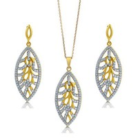 Cubic Zirconia CZ 14K Gold Over Sterling Silver Vermeil Leaf Pendant Necklace And Dangle Earrings Matching 2 Pc Set #vs175