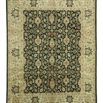 EORC Hand-knotted Wool Black Traditional Oriental Ziegler Rug