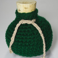 Gaming Dice Bag - Crochet Green Potion Bottle Nerd Geek Dice Bag