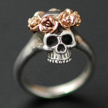 Silver Skull Ring with Rose Crown  in Rose Gold
