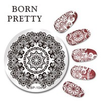 BORN PRETTY 5.5cm Round Nail Art Stamp Stamping Plates Template Arabesque Design Image Plate Nail Tool BP-104