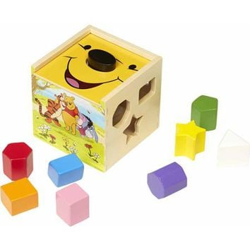 Melissa & Doug Disney Baby Disney Winnie the Pooh Wooden Shape Sorting Cube - Walmart.com