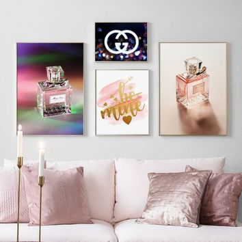 Flower Colorful Paris Perfume Quotes Wall Art Canvas Painting Nordic Posters And Prints Pop Art Canvas Pictures For Living Room