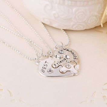 2018 collares best friends Metal Necklace Heart BFF Split Heart Best friend forever three best friend necklaces Pendant jewelry