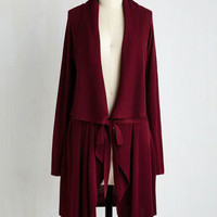 Vintage Inspired Long Long Sleeve Swishin' and Hopin' Cardigan in Merlot
