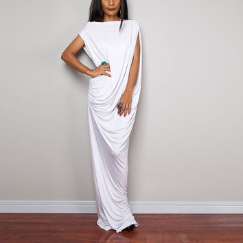 White Autumn Fashion Women Sleeveless Asymmetric Party Summer Long Maxi Wrap Dress Oversized