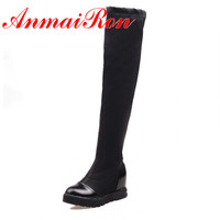 ANMAIRON Big Size 34-43 New Fashion Women Boots Round Toe  Sexy Winter Slip-On Over The Knee High Boots Women Platform Boots