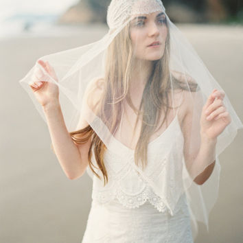 Wedding Veil, Silk Tulle Drop Veil, Handkerchief Veil, Bridal Veil, Elbow Vei, Veil ONLY - MADE to ORDER – Style 1414