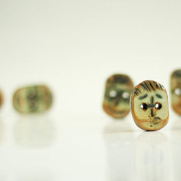 Set Of Five Happy Face Buttons - Ellipse Buttons Ceramic Buttons - Handmade Buttons