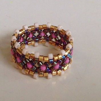 Beaded Ring Delica Ring Beadweaving Ring by picassogiraffe on Etsy