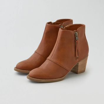 AEO Double Zip Stacked Heel Bootie , Cognac | American Eagle Outfitters