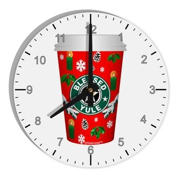 "Blessed Yule Red Coffee Cup 8"" Round Wall Clock with Numbers by TooLoud"