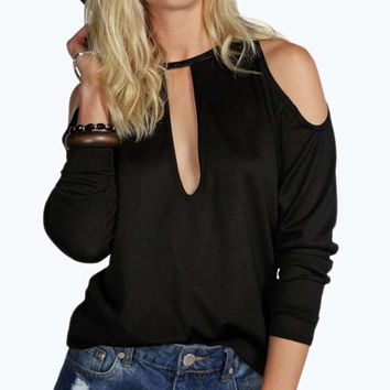 Keyhole Neck Long Sleeve Cut Out Knitwear
