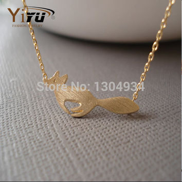 Cute Animal Running Fox Necklace for Women Minimalist Jewelry Vintage Long Racing Fox Chain Necklace Party Gifts