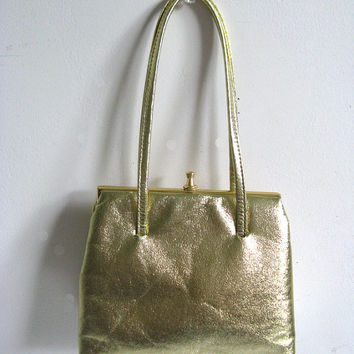 Vintage 1960s Handbag John Hort Gold Faux Leather Mini Purse
