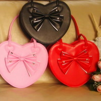 Pretty Cute Japan Sweet Lolita Gothic Punk BOW Big Heart Handbags * 6 COL*