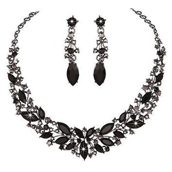 SHIP BY USPS: Youfir Austrian Crystal Rhinestone Bridal Wedding Necklace and Earrings Jewelry Sets for Women