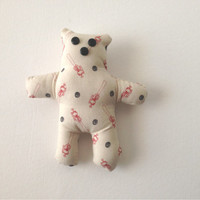 Hand Made Teddy Bear, Mini-Bear, Baseball Bear, White Teddy, Tiny Teddy Bear