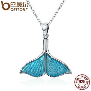 925 Sterling Silver Ocean Sea Blue Enamel Fish Whale's Tail Pendant Necklaces Women Luxury Silver Jewelry Brincos SCN096