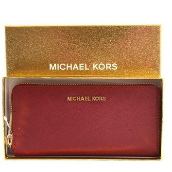 ESBON3F Michael Kors Giftables Jet Set Zip Around Continental Saffiano Leather Wallet Clutch
