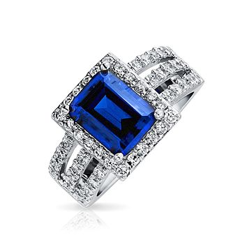 3CT Simulated Sapphire Royal Blue CZ Engagement Ring Sterling Silver
