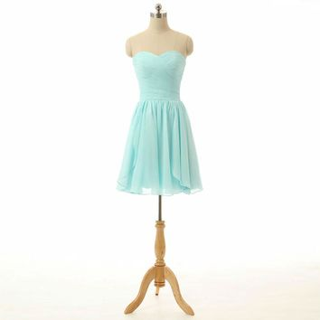Strapless Chiffon Mini Short Bridesmaid dresses Short Wedding Party dresses