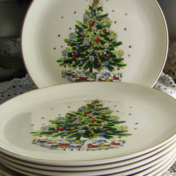 Lovely Christmas Eve, Salem Bone China Viktor Schreckengost, Christmas Tree Holiday Dinner Plates, Set 8, Perfect With Any Home Decor
