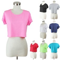 Crop Top Casual Short Sleeve Cuff Solid Plain Round Neck TEE Shirt Comfy S M L