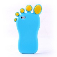 Cute Cartoon Feet Silicone Case for Iphone 4/4s-blue