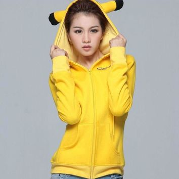 2017 Fashion Women Jacket Yellow Solid  Pikachu Printed Costume Tail Zip Totoro Hoodie Sweatshirt Sudaderas MujerKawaii Pokemon go  AT_89_9