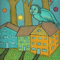 The Town Guardian - Bird Lady - Digital Painting - Indie Folk Art