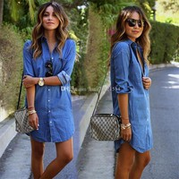 New Women Casual Denim Dresses Pockets Elegant Cowboy Fashion Women Feminino Lady Slim Shirt Dress Jeans