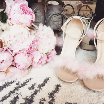 Pink and Nude Fluffy Heels