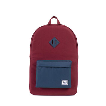 HERSCHEL SUPPLY CO HERITAGE BACKPACK IN WINDSOR WINE/NAVY