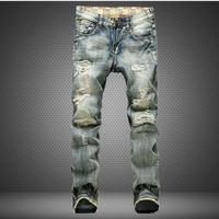 Men's Fashion Denim Pants Men Ripped Holes Slim Jeans [1922680324189]