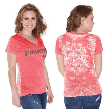 Tampa Bay Buccaneers Touch by Alyssa Milano Women's Audrey V-Neck T-Shirt – Red