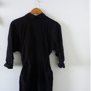 Little black dress, vintage dress, small dress, bat wing sleeves, button back, collared dress, faded fabric, black fabric, lbg, wardrobe