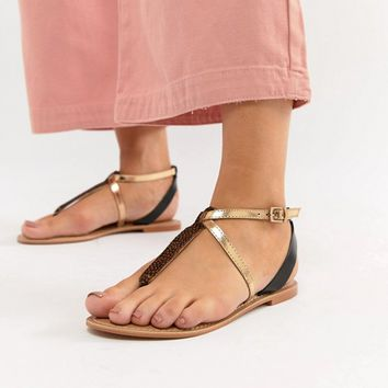 ASOS DESIGN Forbes Leather Wide Fit Flat Sandals at asos.com