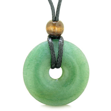Amulet Magic Large Coin Shaped Donut Positive Powers Green Quartz Healing Lucky Charm Necklace