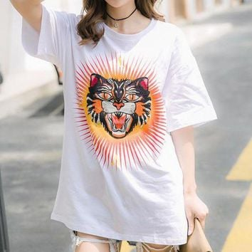 Gotopfashion GUCCI Woman Men Fashion Tiger Head Tunic Shirt Top Blouse