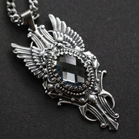 The Fallen - antique silver winged necklace with grey glass cabochon - gothic victorian jewelry