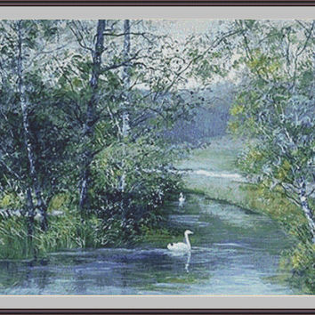 Swans in the Lake - Counted cross stitch pattern in PDF format