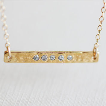 Sideways Gold Bar Necklace - 14k gold-filled necklace, simple minimal everyday jewelry by petitor